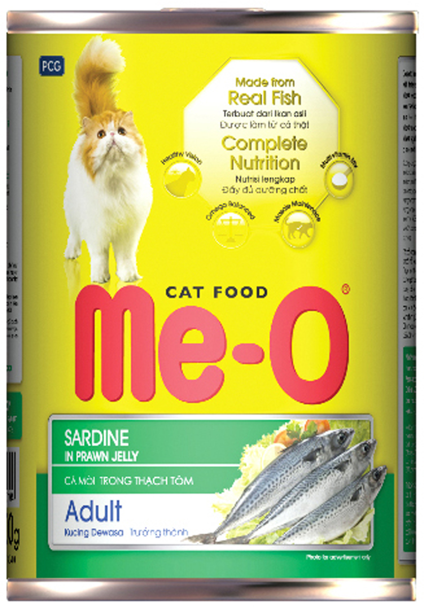 Корм консервированный для кошек PCG Ме-О, сардина в желе, 400 г ольхов олег рыба морепродукты на вашем столе салаты закуски супы второе