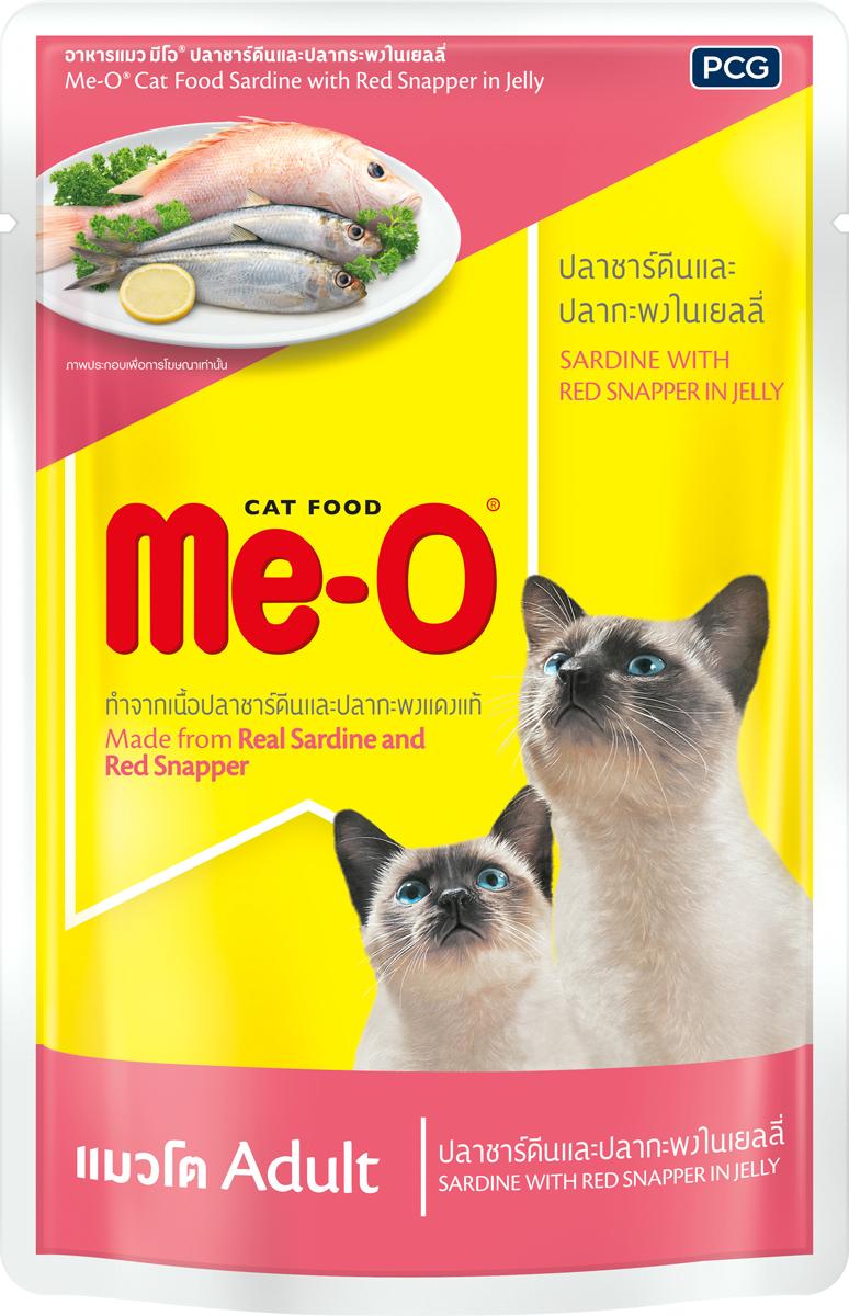 Паучи для кошек и котов PCG Ме-О, сардина с красным окунем в желе, 80 г корм консервированный для кошек pcg ме о тунец в желе 400 г