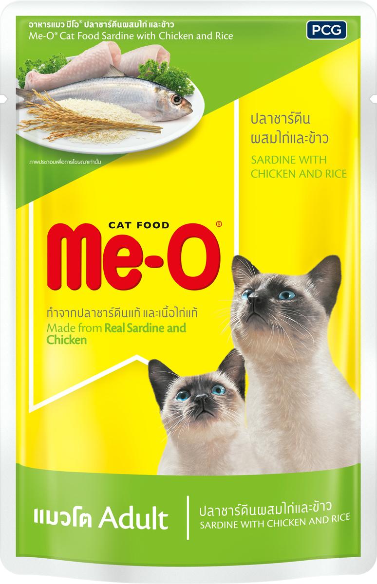 Паучи для кошек и котов PCG Ме-О, сардина с курицей и рисом в желе, 80 г144Ингредиенты: Рыба и морепродукты, желирующее вещество, натуральный пищевой краситель, витамины и минералы.Питательные вещества: Белок min 12-14,5% Жир min 1,6-3% Клетчатка max 0,5-1% Влага max 82%Питательные вещества: Белок min 9-10%Жир min 1-4% Клетчатка max 1%Влага max 82-86%