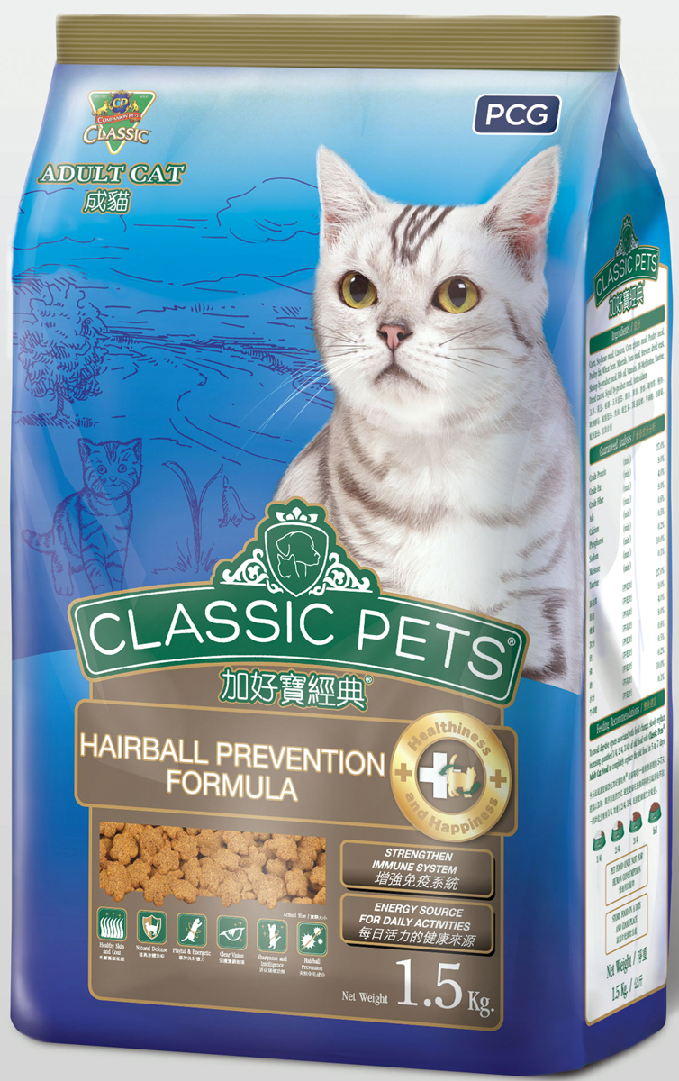 Корм сухой для кошек PCG Классик, хаирбалл, 1,5 кг мясо птицы охлажденное оптом