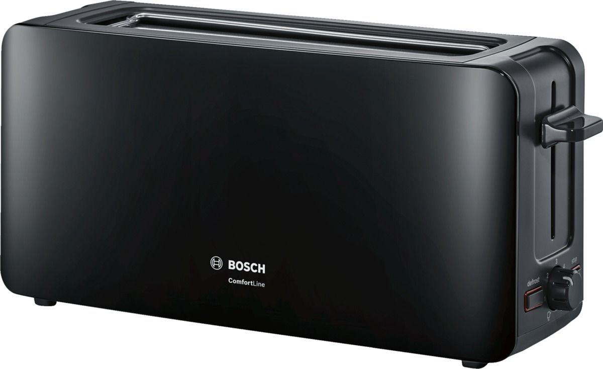 Bosch TAT6A003, Black тостерTAT6A003Тостер Bosch TAT6A003 с удлиненной размером слота станет еще одним членом вашей семьи, ведь мало кто откажется полакомиться поджаренным хрустящим кусочком хлеба или горячей булочкой. С их появлением вам уже не придется заставлять ребенка позавтракать - он сможет самостоятельно приготовить себе вкусное блюдо без малейшей опасности доля здоровья.Тостеры Bosch TAT6A003 помогут приготовить за раз два кусочка хлеба, а степень поджаренности вы можете выбрать самостоятельно при помощи терморегулятора. Тостеры Bosch TAT6A003 оснащены функцией автоматического центрирования для равномерной обжарки, а также съемным поддоном для крошек, который значительно упростит уход за прибором.