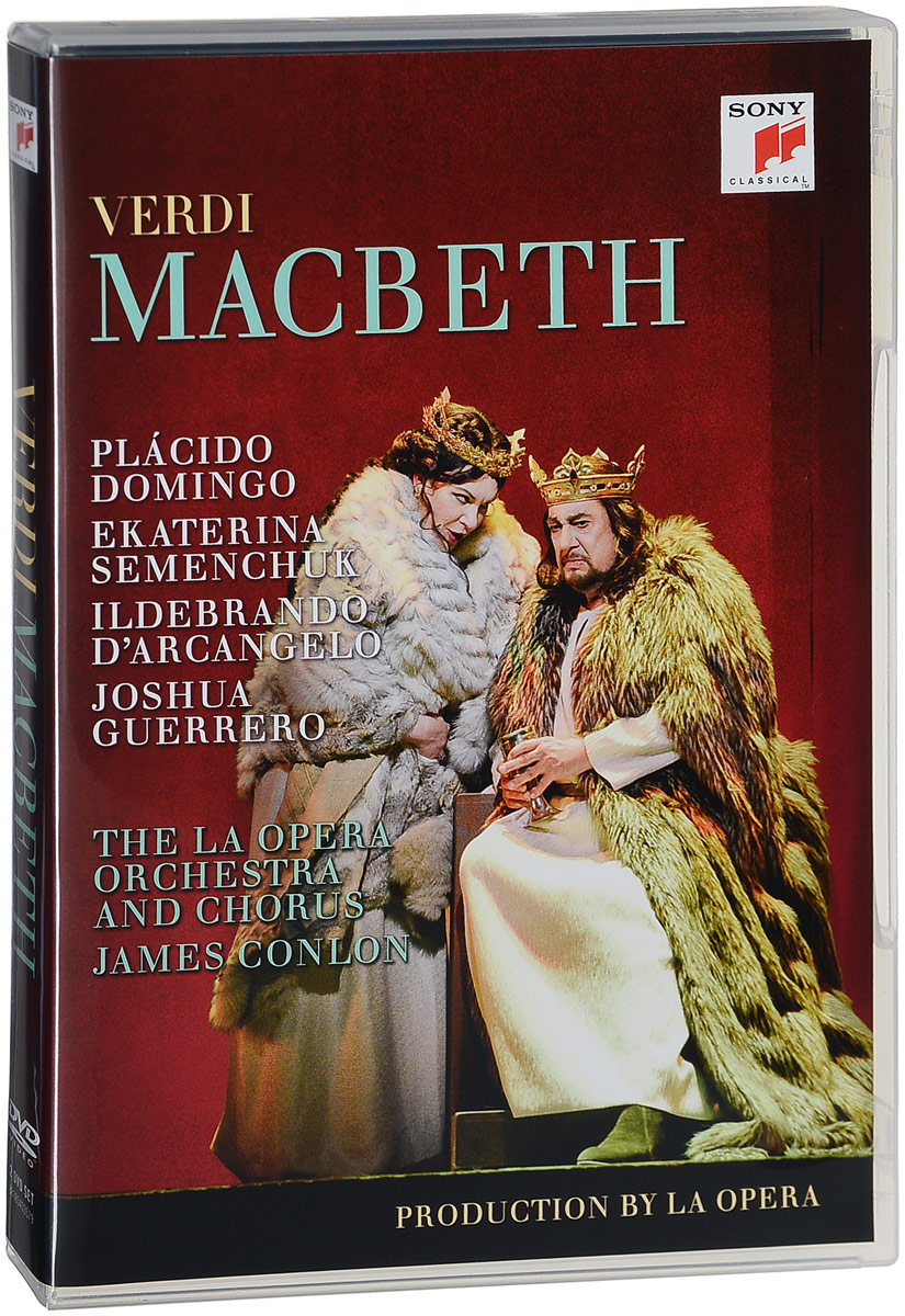 LA Opera's latest production of Verdi's Macbeth (2016) features Placido Domingo in the title role and Russian mezzo-soprano Ekaterina Semenchuk as Lady Macbeth. The opera is staged by Darko Tresnjak, who won a Tony Award for his direction of the Broadway musical A Gentleman's Guide to Love & Murder.