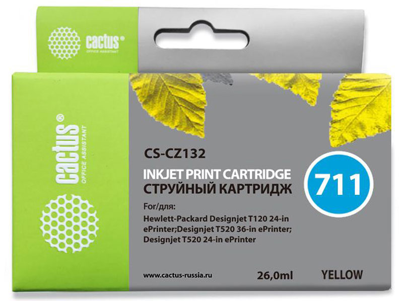 Cactus CS-CZ132 №711, Yellow картридж струйный для HP DJ T120/T520 картридж для принтера hp 90 c5064a yellow