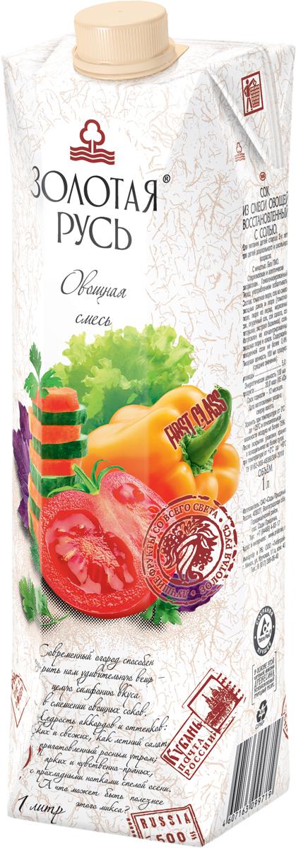 Золотая Русь Сок из смеси овощей восстановленный с солью, с мякотью, 1 л индикатор качества смеси в москве