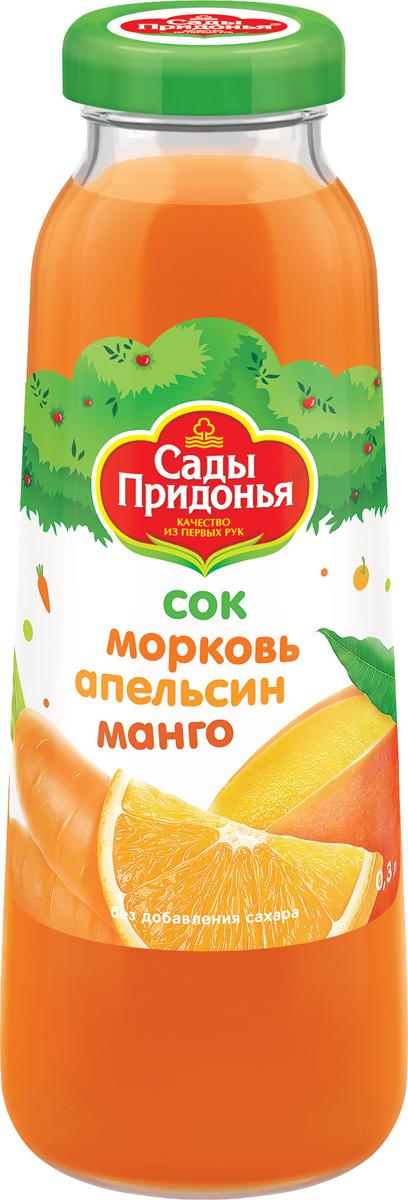 Сады Придонья Сок из моркови, апельсинов и манго с мякотью восстановленный, 0,3 л сок сады придонья яблоко и груша с мякотью с 5 мес 125 мл