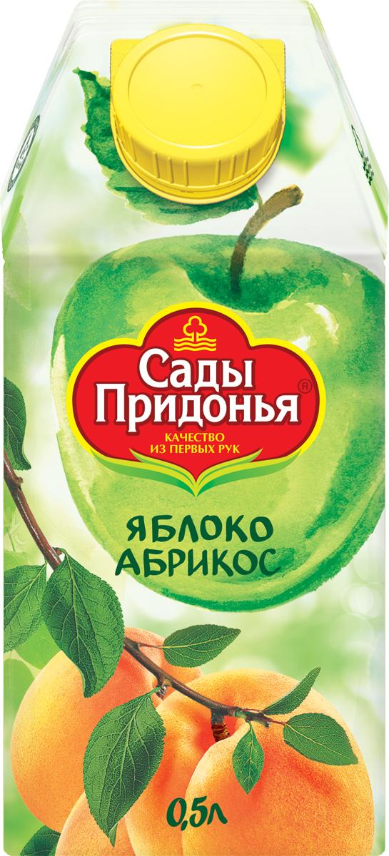 Сады Придонья Сок яблочно-абрикосовый с мякотью восстановленный, 0,5 л нектар сады придонья яблочно морковный с мякотью 1л