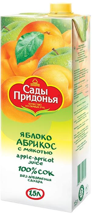 Сады Придонья Сок яблочно-абрикосовый с мякотью восстановленный, 1,5 л соки и напитки сады придонья сок яблоко вишня прямого отжима с мякотью с 5 мес 200 мл
