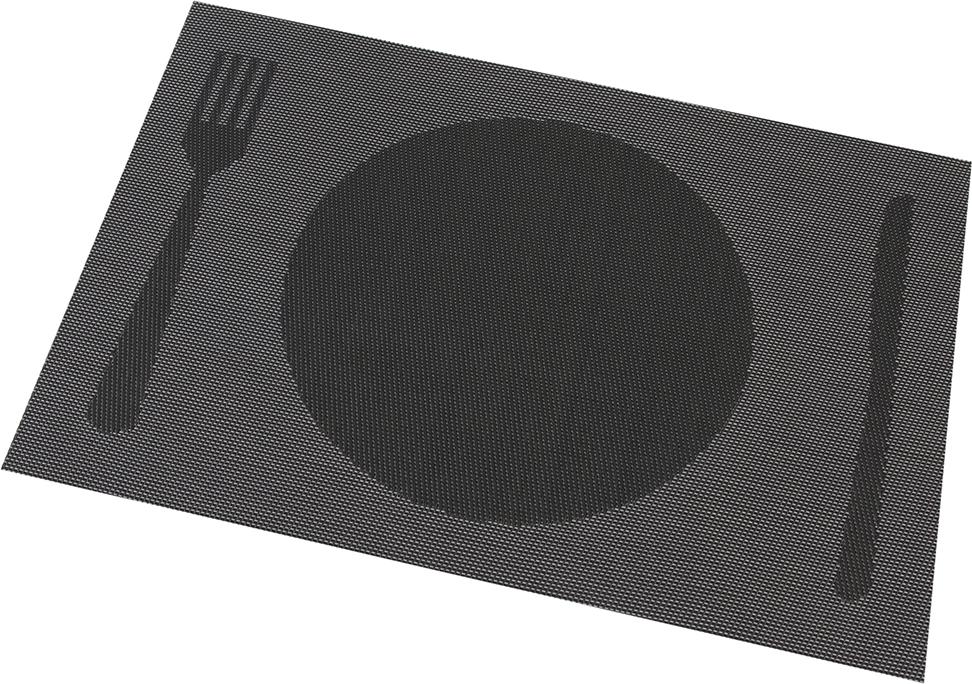 """Салфетки Elan Gallery """"Столовые приборы на темно-сером"""" предназначены  для сервирования стола и украшение интерьера. Салфетки выполнены из ПВХ. Такие изделия легко моются и удобны в хранении, имеют стильный и красивый дизайн. Изготовлены из современного, высокотехнологичного материала, обладающего рядом уникальных свойств: высокая прочность, эластичность, большая износостойкость, высокая термостойкость и устойчивость к ультрафиолетовым лучам.  Меры предосторожности: температурный режим использования до 90°С. Не подвергать прямому воздействию огня!"""