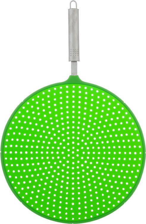 Экран от брызг Elan Gallery, цвет: зеленый, 44 х 28 х 1,7 см590180Универсальный гаситель брызг из силикона станет незаменимым помощником на Вашей кухне, препятствует попаданию жира на поверхность плиты и стен. Экран от брызг Elan Gallery изготовлен из экологически чистого материала - высококачественного силикона. Удобная ручка выполнена из металла. Выдерживает температурный диапазон от - 40 до +210°С. Просто положите экран сверху на посуду с готовящейся пищей, это предотвратит попадание брызг на поверхность плиты, одежду и кухонную мебель. Изделие легко моется и хранится. Простое и удобное использование.