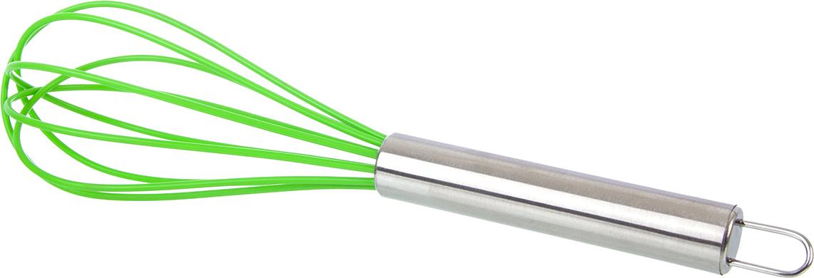 Венчик для взбивания силиконовый - прекрасная альтернатива стандартным  металлическим венчикам. Силиконовое покрытие рабочей поверхности не  царапает посуду, не впитывает жир и запахи, и безопасно для посуды с  антипригарным покрытием, легко моется. Ручка выполнена из  коррозионностойкой стали.