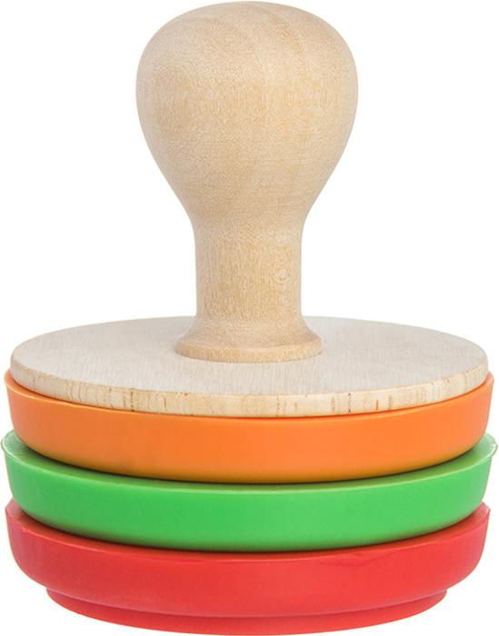Набор печатей-штампов для теста, мастики, печенья, марципана и любой другой  выпечки приятно разнообразит ваши кулинарные шедевры. В набор входят 3  штампа разных цветов и деревянная ручка, которая удобно ложится в руку и  приятная на ощупь. Тесто не липнет к силикону. Он не впитывает запахи и может  храниться сколько угодно.