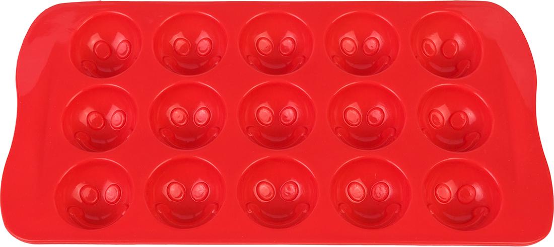 Форма для льда Elan Gallery Смайлики, цвет: красный, 21 х 10,5 х 2 см, 15 ячеек590293Яркая форма для шоколадных изделий и льда, несомненно, придется по душе любой хозяйке. Форма удобна в использовании, легко моется.