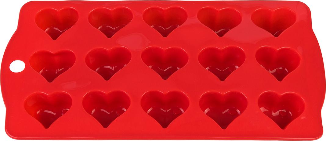 Форма для льда Elan Gallery Сердечки, цвет: красный, 21 х 10,5 х 2 см, 15 ячеек590296Фигурная форма для льда и шоколада Elan Gallery Сердечки выполнена из пищевого силикона, который не впитывает запахов, отличается прочностью и долговечностью. Материал полностью безопасен для продуктов питания. Кроме того, силикон выдерживает температуру от -40°С до +250°С, что позволяет использовать форму в духовом шкафу и морозильной камере. Благодаря гибкости материала готовый продукт легко вынимается и не крошится. С помощью такой формы можно приготовить оригинальные конфеты и фигурный лед.