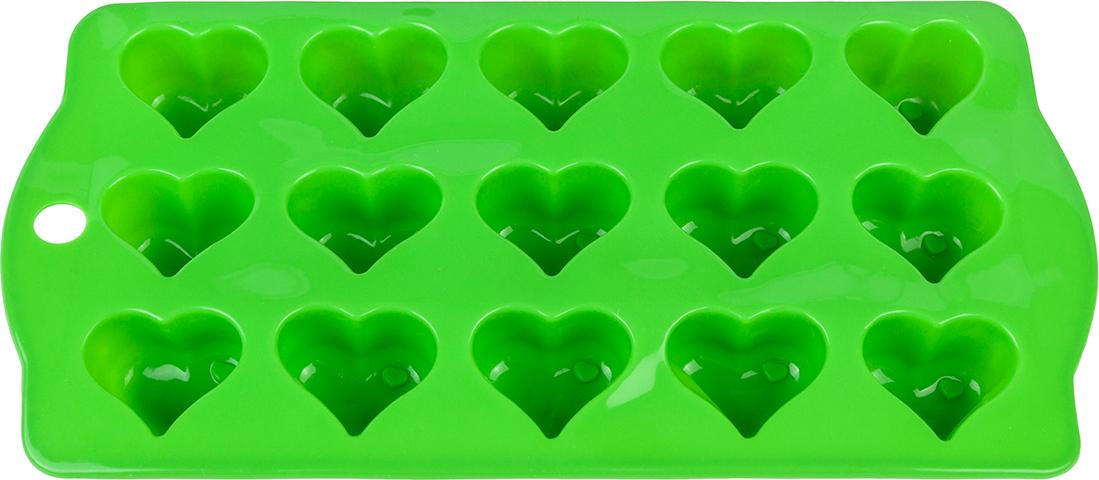 Форма для льда Elan Gallery Сердечки, цвет: салатовый, 21 х 10,5 х 2 см, 15 ячеек590297Силиконовая форма для шоколадных конфет и льда «Сердечки» выполнена извысококачественного силикона, проста в использовании и легко моется впосудомоечной машине. Силикон переносит температуру от - 40 до + 230°С, невпитывает запахи и к нему не прилипают готовые продукты. Форма рассчитана на15 изделий. В серии форм представлены разные цвета, формы ячеек и ихколичество - каждая хозяйка сможет выбрать свою идеальную форму.