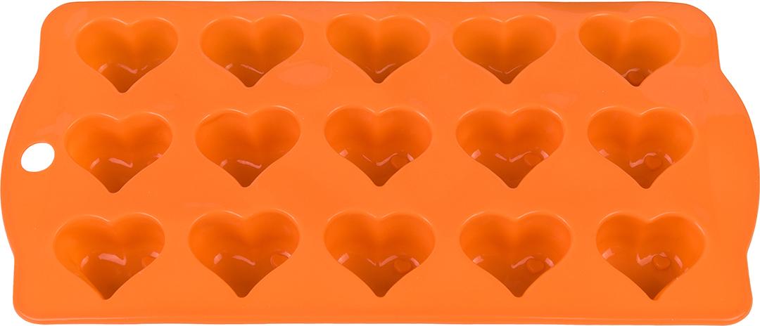 Форма для льда Elan Gallery Сердечки, цвет: оранжевый, 21 х 10,5 х 2 см, 15 ячеек590298Фигурная форма для льда и шоколада Elan Gallery Сердечки выполнена из пищевого силикона, который не впитывает запахов, отличается прочностью и долговечностью. Материал полностью безопасен для продуктов питания. Кроме того, силикон выдерживает температуру от -40°С до +250°С, что позволяет использовать форму в духовом шкафу и морозильной камере. Благодаря гибкости материала готовый продукт легко вынимается и не крошится. С помощью такой формы можно приготовить оригинальные конфеты и фигурный лед.