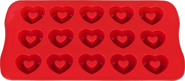 Силиконовая форма для шоколадных конфет и льда «Сердечки» с выемкой  выполнена из высококачественного силикона, проста в использовании и легко  моется в посудомоечной машине. Силикон переносит температуру от — 40 до +  240°С, не впитывает запахи и к нему не прилипают готовые продукты. Форма  рассчитана на 15 изделий. В серии форм представлены разные цвета, формы  ячеек и их количество — каждая хозяйка сможет выбрать свою идеальную форму.