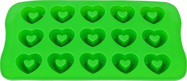 Силиконовая форма для шоколадных конфет и льда «Сердечки» с выемкой  выполнена из высококачественного силикона, проста в использовании и легко  моется в посудомоечной машине. Силикон переносит температуру от - 40 до +  230°С, не впитывает запахи и к нему не прилипают готовые продукты. Форма  рассчитана на 15 изделий. В серии форм представлены разные цвета, формы  ячеек и их количество - каждая хозяйка сможет выбрать свою идеальную форму.