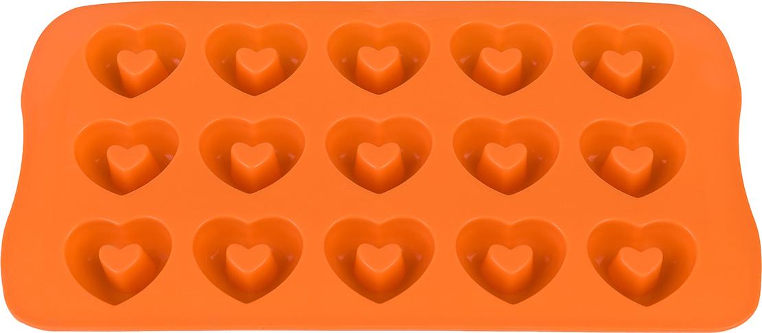 Форма для льда Elan Gallery Сердечки, с выемкой, цвет: оранжевый, 21 х 10,5 х 2 см, 15 ячеек590301Фигурная форма для льда и шоколада Elan Gallery Сердечки выполнена из пищевого силикона, который не впитывает запахов, отличается прочностью и долговечностью. Материал полностью безопасен для продуктов питания. Кроме того, силикон выдерживает температуру от -40°С до +250°С, что позволяет использовать форму в духовом шкафу и морозильной камере. Благодаря гибкости материала готовый продукт легко вынимается и не крошится. С помощью такой формы можно приготовить оригинальные конфеты и фигурный лед.