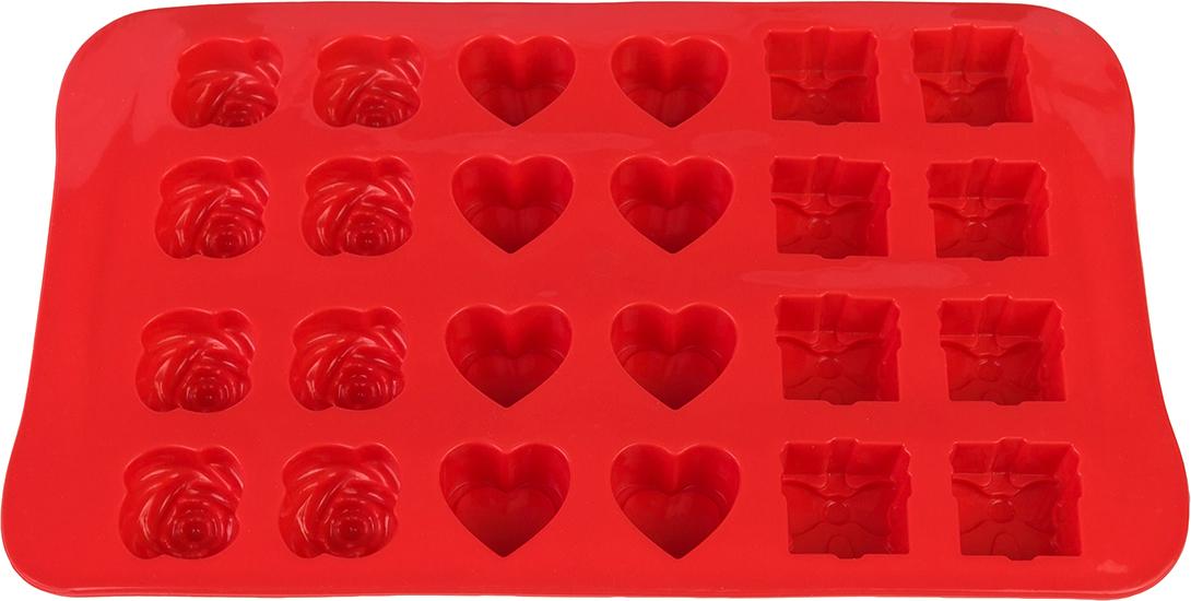 Форма для льда Elan Gallery Микс, цвет: красный, 23,3 х 14 х 2 см, 24 ячейки590302Силиконовая форма для шоколадных конфет и льда «Микс» с формами в видебантика, сердечка и розы выполнена из высококачественного силикона, проста виспользовании и легко моется в посудомоечной машине. Силикон переноситтемпературу от — 40 до + 240°С, не впитывает запахи и к нему не прилипаютготовые продукты. Форма рассчитана на 24 изделия. В серии форм представленыразные цвета, формы ячеек и их количество — каждая хозяйка сможет выбратьсвою идеальную форму.