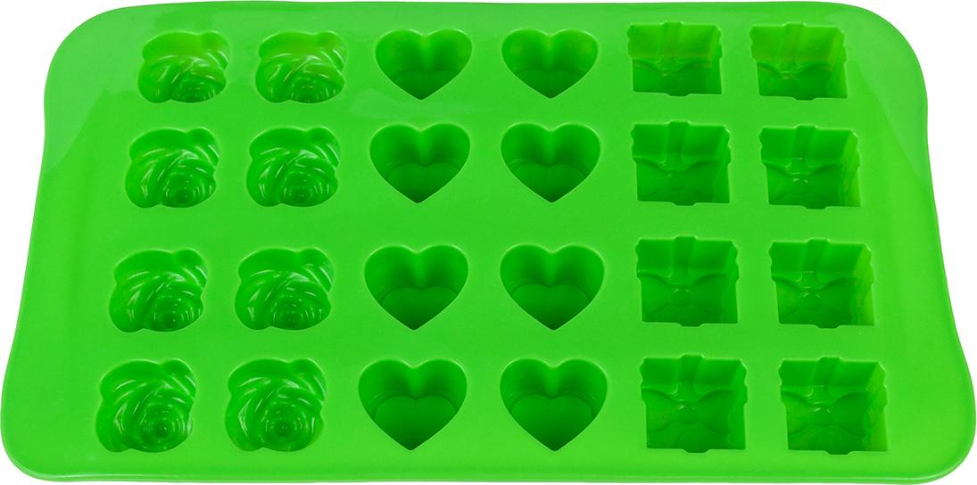 Силиконовая форма для шоколадных конфет и льда «Микс» с формами в виде  бантика, сердечка и розы выполнена из высококачественного силикона, проста в  использовании и легко моется в посудомоечной машине. Силикон переносит  температуру от - 40 до + 240°С, не впитывает запахи и к нему не прилипают  готовые продукты. Форма рассчитана на 24 изделия. В серии форм представлены  разные цвета, формы ячеек и их количество - каждая хозяйка сможет выбрать  свою идеальную форму.