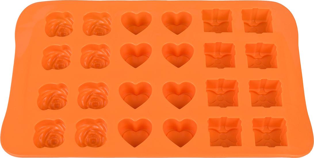 Форма для льда Elan Gallery Микс, цвет: оранжевый, 23,3 х 14 х 2 см, 24 ячейки590304Яркая форма для шоколадных изделий и льда, несомненно, придется по душе любой хозяйке. Форма удобна в использовании, легко моется.
