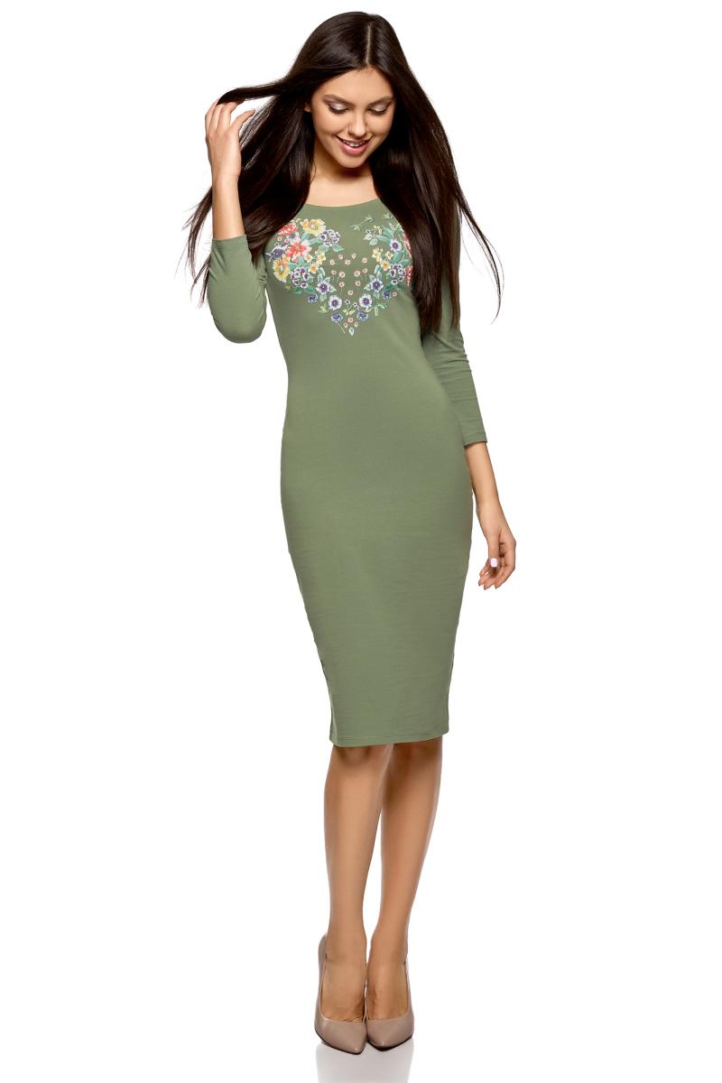 Платье oodji Ultra, цвет: зеленый. 14017001-7/47420/6219P. Размер XS (42)14017001-7/47420/6219PПлатье от oodji выполнено из эластичного хлопка. Модель облегающего кроя с рукавами-реглан 3/4 и вырезом горловины лодочка на груди оформлена принтом.