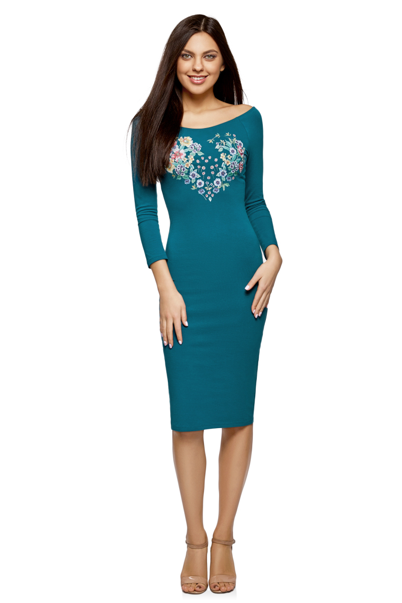 Платье oodji Ultra, цвет: морская волна. 14017001-7/47420/6C19P. Размер XXL (52) платье oodji ultra цвет сиреневый 14017001 6b 47420 8000n размер xl 50