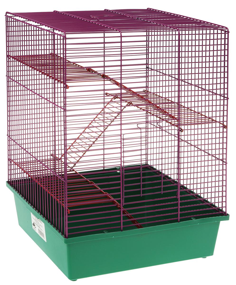 Клетка для грызунов Велес  Lusy Hamster-4 , 4-этажная, цвет: зеленый, фиолетовый, 35 х 26 х 45 см - Клетки, вольеры, будки
