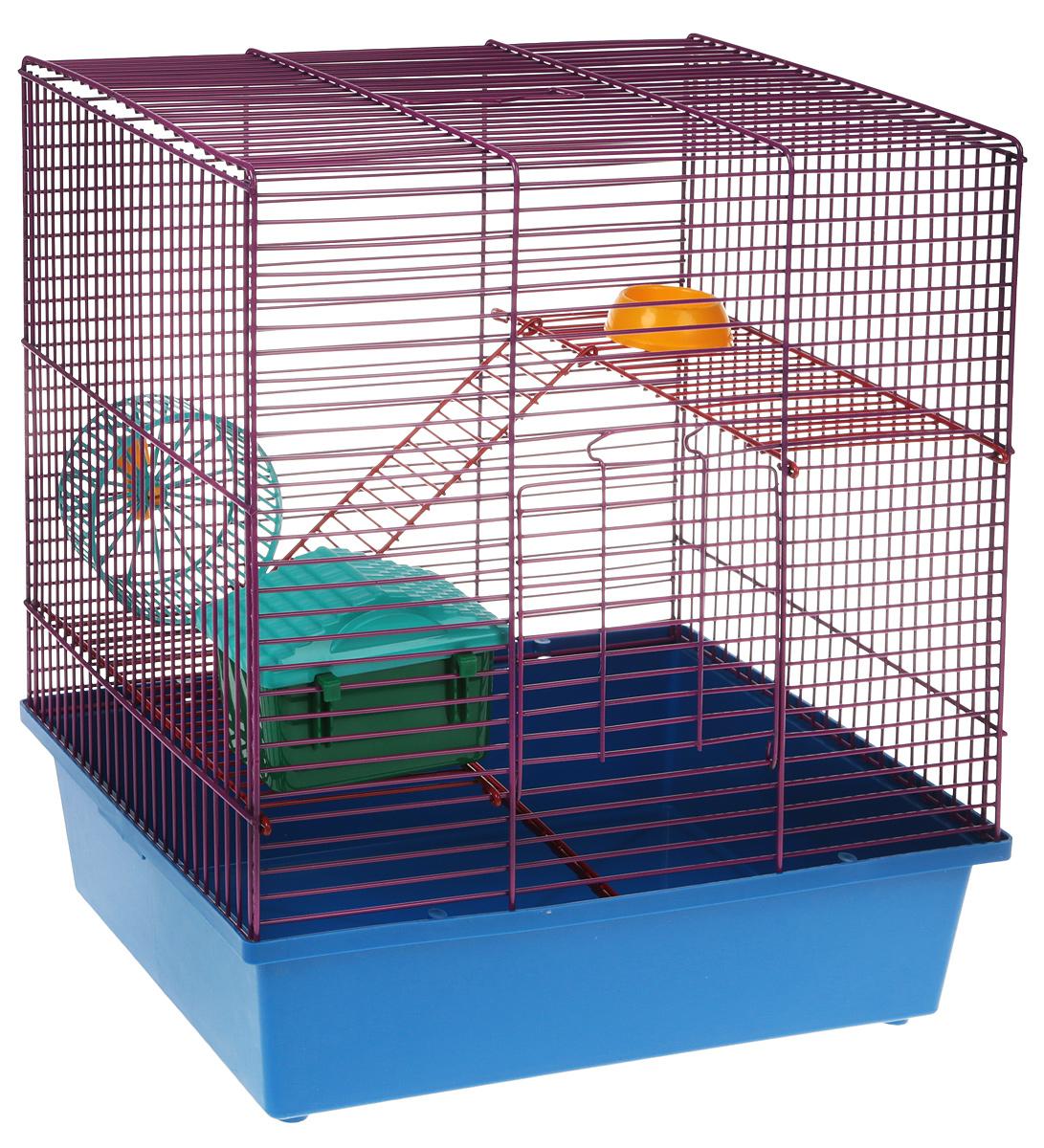Клетка для грызунов Велес Lusy Hamster-3к, 3-этажная, цвет: синий, фиолетовый, 35 х 26 х 40 см клетка для грызунов велес lusy hamster 2 2 этажная цвет синий бирюзовый 35 х 26 х 26 см