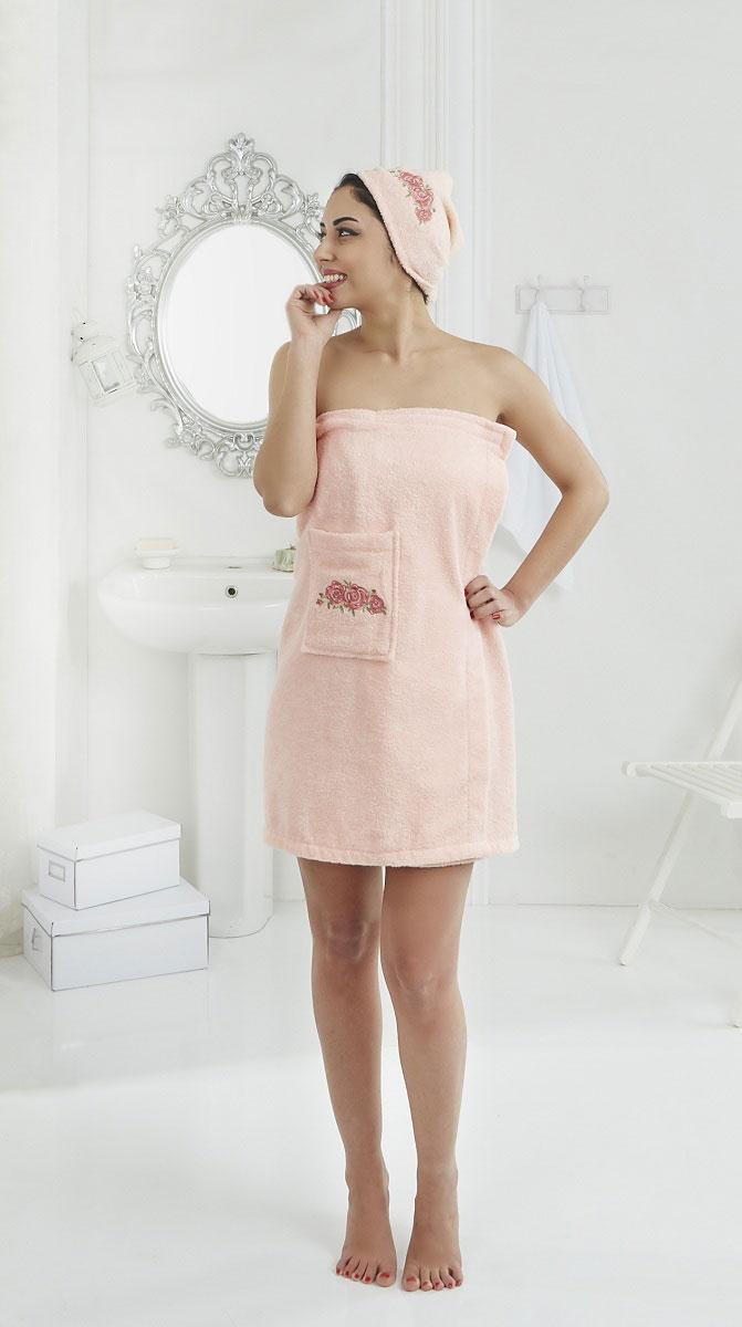Набор для сауны женский Karna Pera, цвет: абрикосовый, 2 предмета75964Махровый набор для сауны Pera изготавливают из высококачественного 100% хлопка. Хлопковые нити прядутся из длинных волокон. Длина волокон хлопковой нити влияет на свойства ткани, чем длиннее волокна, тем махровое изделие прочнее, пушистее и мягче на ощупь. А также махровое изделие будет отлично впитывать воду и быстро сохнуть. На впитывающие качества махры (ее гигроскопичность) конечно же влияет состав волокон.Набор абсолютно не аллергенен, имеет высокую воздухопроницаемость и долгий срок использования. Состоит из полотенца-парео и полотенца -чалмы.
