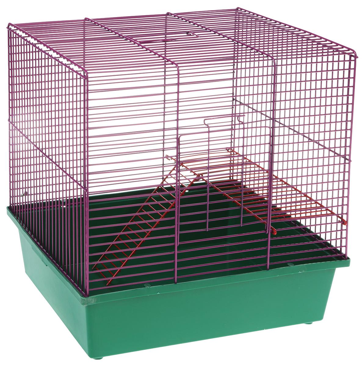 Клетка для грызунов Велес  Lusy Hamster-2 , 2-этажная, цвет: зеленый, фиолетовый, 35 х 26 х 26 см - Клетки, вольеры, будки