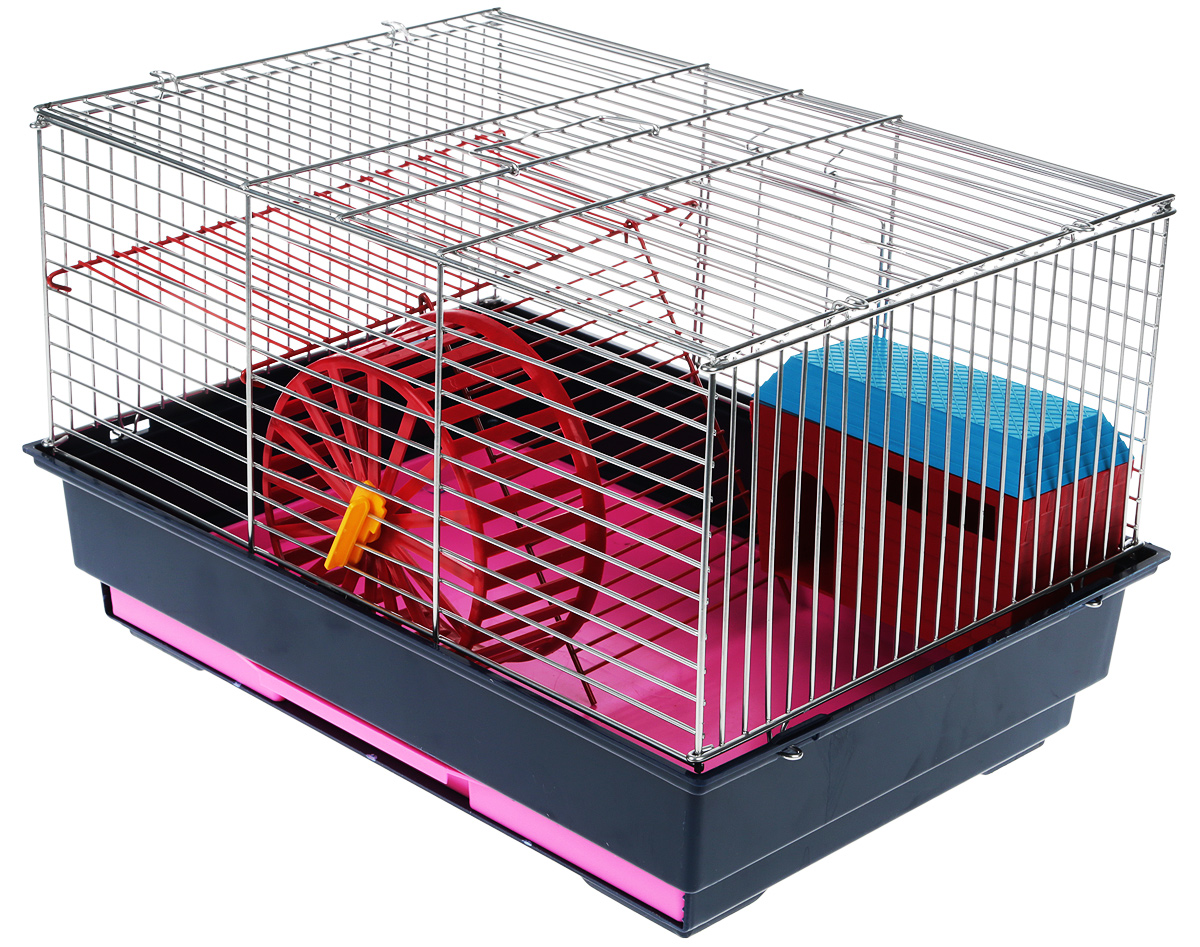 Клетка для грызунов Велес  Lusy 2 , 2-этажная, цвет: темно-синий, серебристый, 30 х 42 х 25 см - Клетки, вольеры, будки