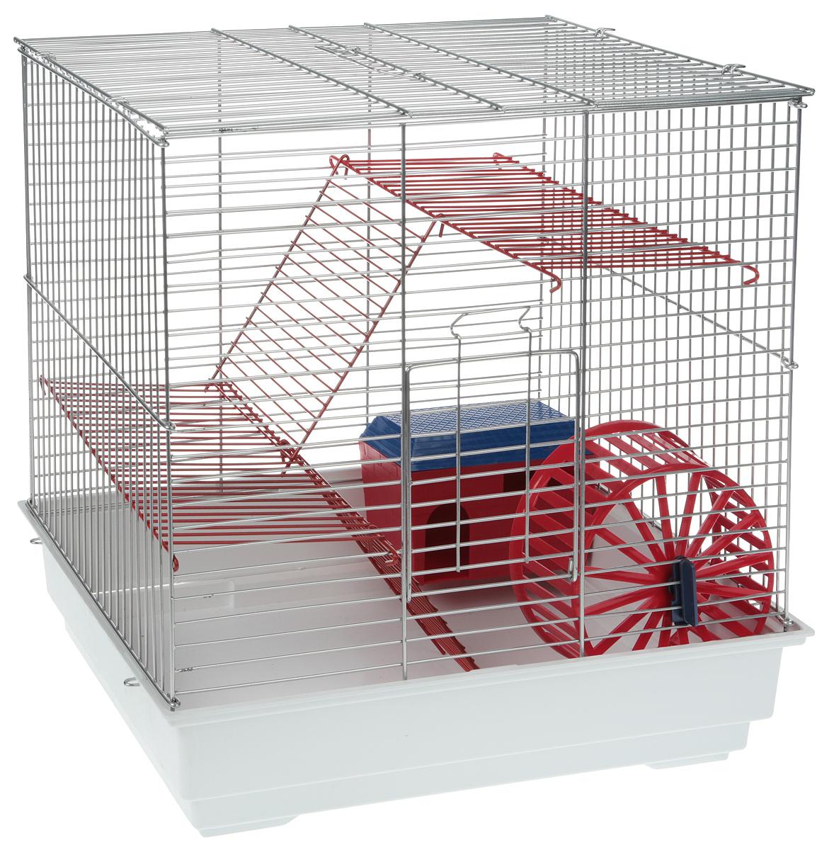 Клетка для грызунов Велес Lusy 3, 3-этажная, разборная, цвет: белый, серебристый, 30 х 40 х 43 см клетка для грызунов велес lusy hamster 2 2 этажная цвет синий бирюзовый 35 х 26 х 26 см