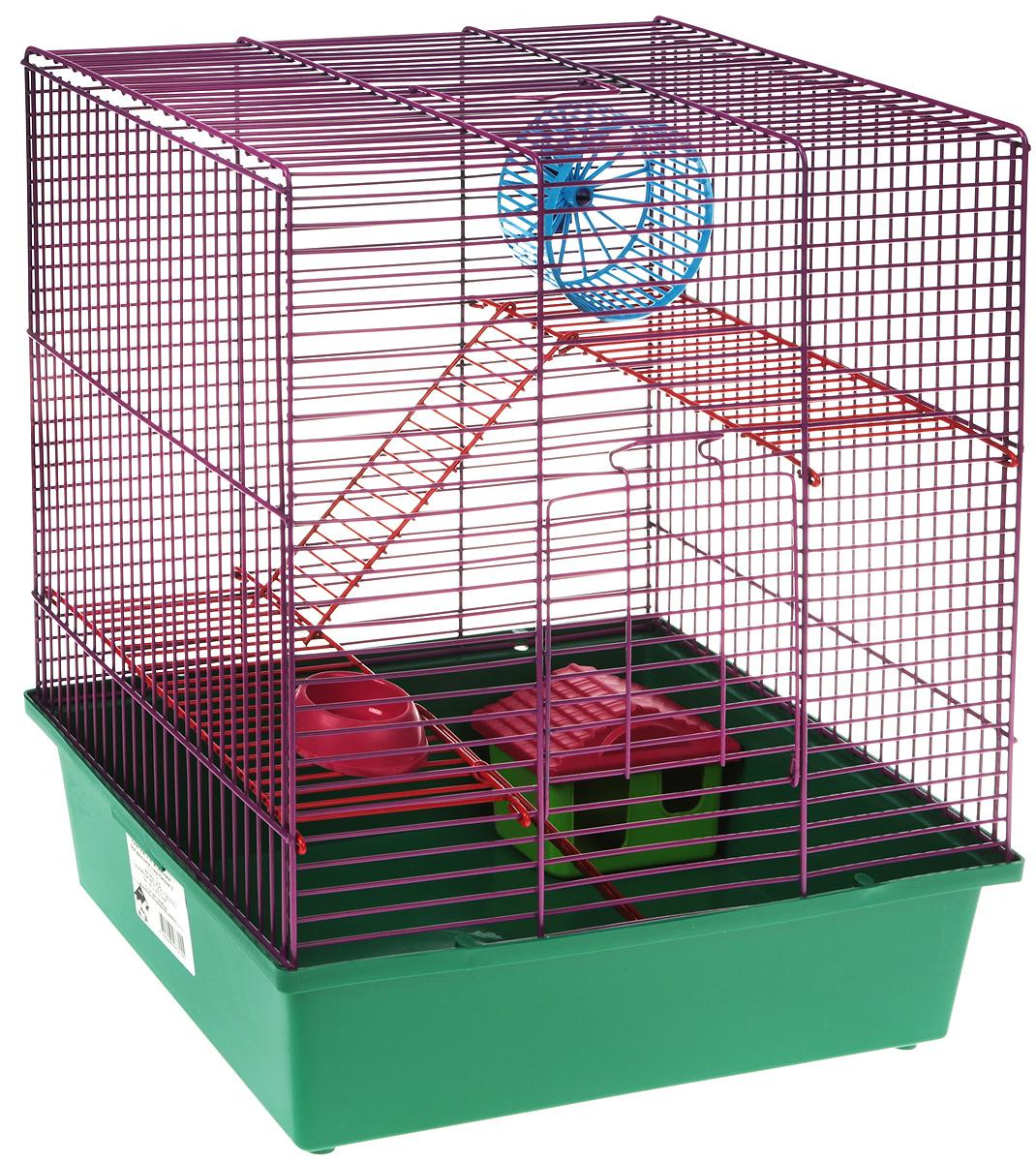 Клетка для грызунов Велес  Lusy Hamster-3к , 3-этажная, цвет: зеленый, фиолетовый, 35 х 26 х 40 см - Клетки, вольеры, будки