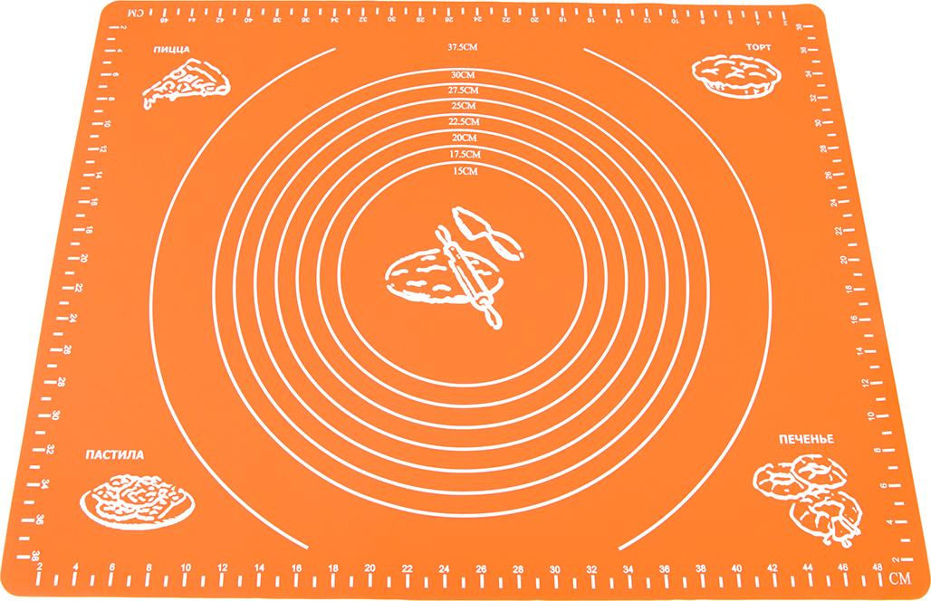 Разметка на коврике помогает изготавливать кондитерские изделия и блюда из теста идеально круглой формы и точного диаметра. Подходит для раскатки, выпечки, заморозки теста, а также панировки и нарезки продуктов.  Не скользит, не впитывает запахи, легко моется, занимает минимум места в сложенном виде.  Разрешается мойка в посудомоечной машине без использования абразивных моющих средств.  Не допускается использование на открытом огне.