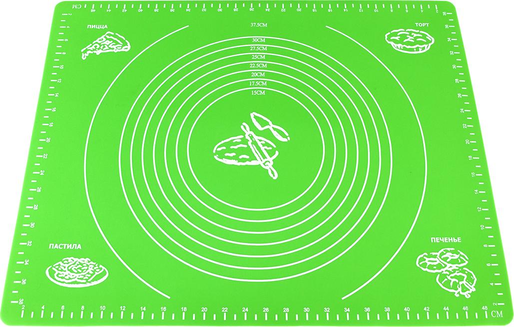 Коврик для теста Elan Gallery, цвет: зеленый, 50 х 40 см590068Разметка на коврике помогает изготавливать кондитерские изделия и блюда из теста идеально круглой формы и точного диаметра. Подходит для раскатки, выпечки, заморозки теста, а также панировки и нарезки продуктов.Не скользит, не впитывает запахи, легко моется, занимает минимум места в сложенном виде.Разрешается мойка в посудомоечной машине без использования абразивных моющих средств.Не допускается использование на открытом огне.