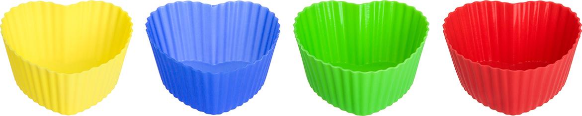 Набор форм для кексов «Сердце» выполнен из качественного 100% пищевого   силикона, прекрасно держит форму и легко чистится и моется. Кексы и любая   другая выпечка не приклеивается к силикону — готовые изделия удобно   доставать, не опасаясь испортить форму. В наборе 8 форм по 2 следующих цвета:   салатовая, красная, желтая, синяя. Объем формы 75 мл каждая, что позволяет   сделать кексы оптимального размера и сократить время приготовления. Набор   компактно упакован и станет прекрасным подарком любой хозяйке.      Как выбрать форму для выпечки – статья на OZON Гид.