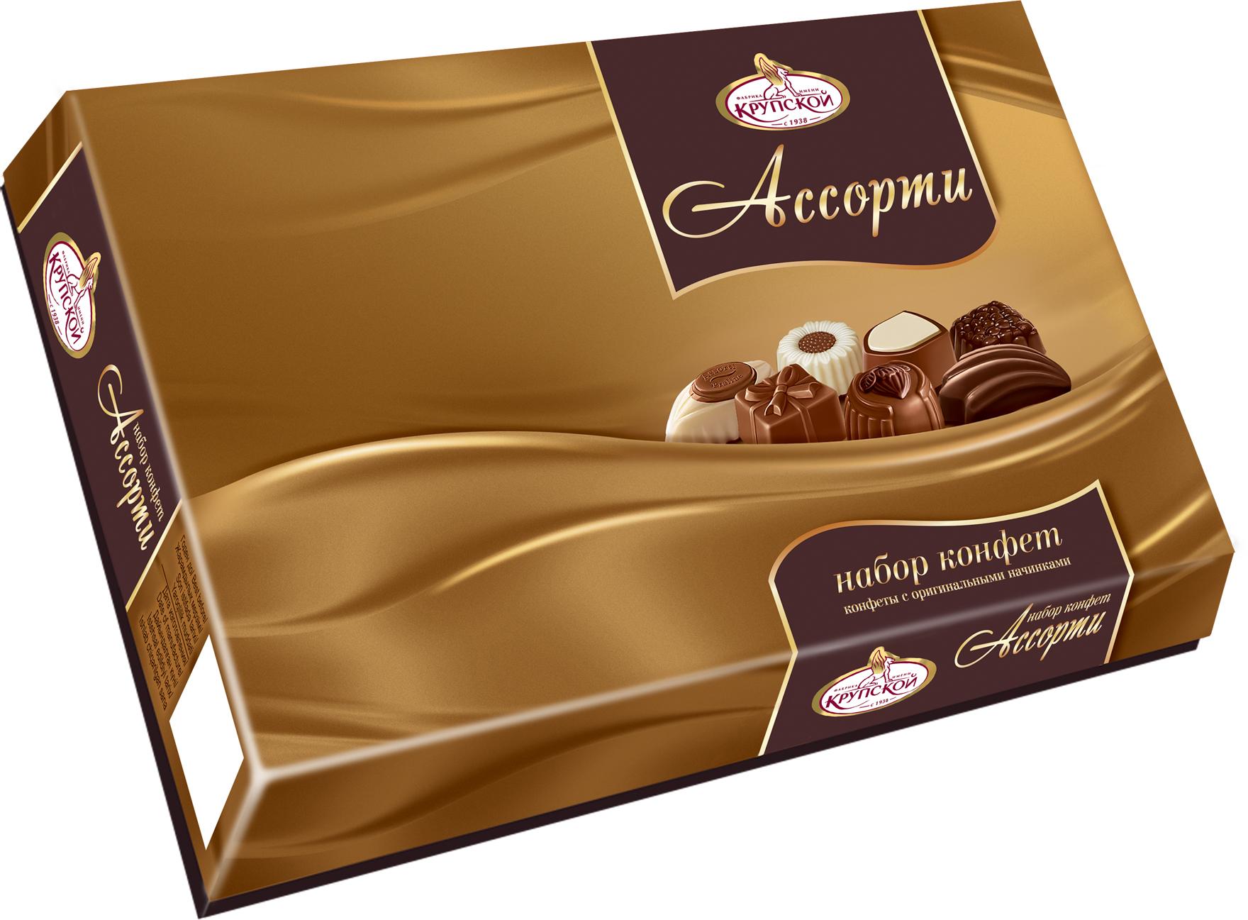 Фабрика имени Крупской Ассорти набор конфет, 369 г20084Набор конфет с различными начинками. Богатство вкусов, тщательно подобранных под самые изысканные предпочтения.
