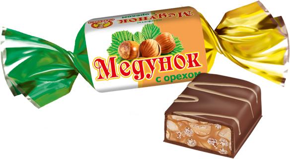 Славянка Медунок с орехом конфеты, 202 г конфеты славянка лёвушка 199г