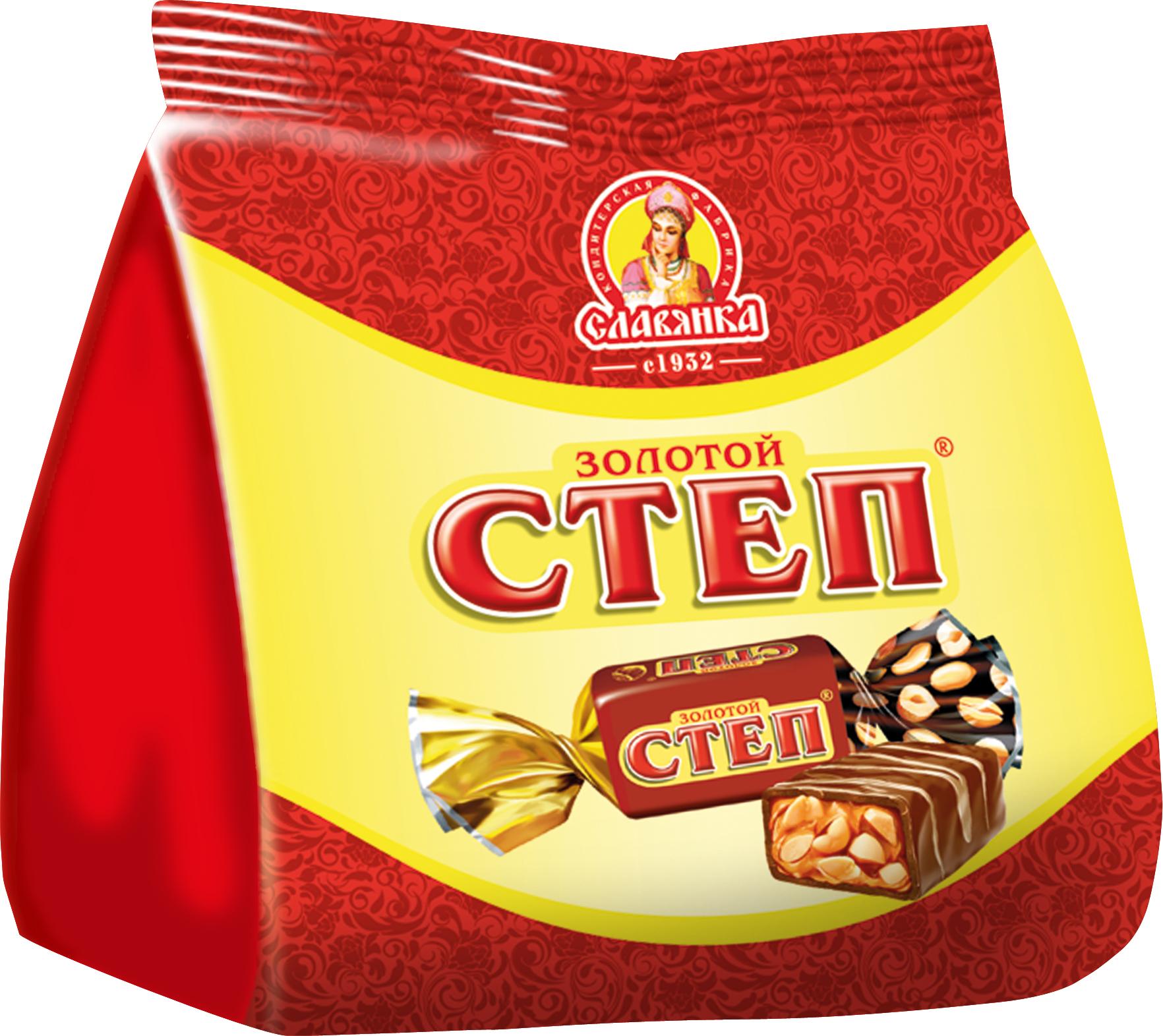 Славянка Золотой степ конфеты, 192 г20197Конфеты на основе мягкой карамели с орехом, покрытые великолепный молочной глазурью.