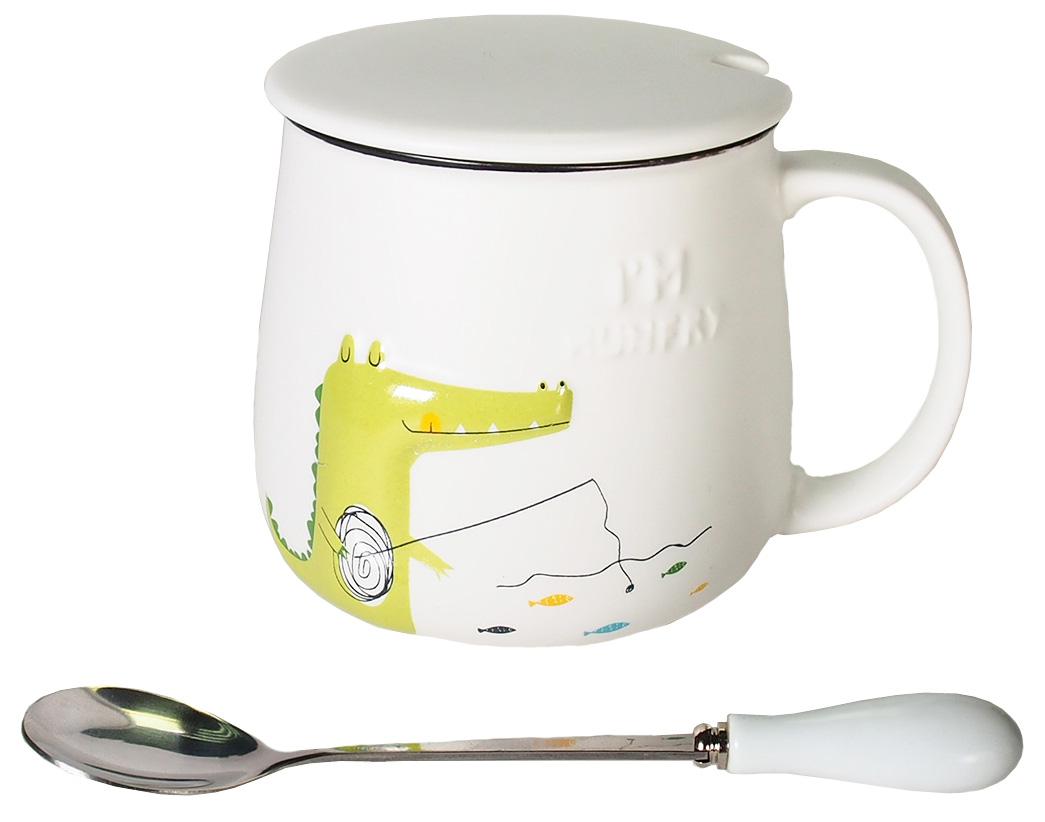 Кружка Карамба Объемный крокодил, цвет: белый, 350 мл004929Стильная кружка с объемным рисунком крокодила с крышкой и ложечкой. Объем 350 мл.