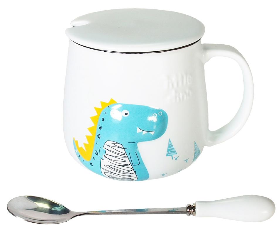 Кружка Карамба Объемный динозавр, цвет: белый, 350 мл004931Стильная кружка с объемным рисунком динозавра с крышкой и ложечкой. Объем 350мл.