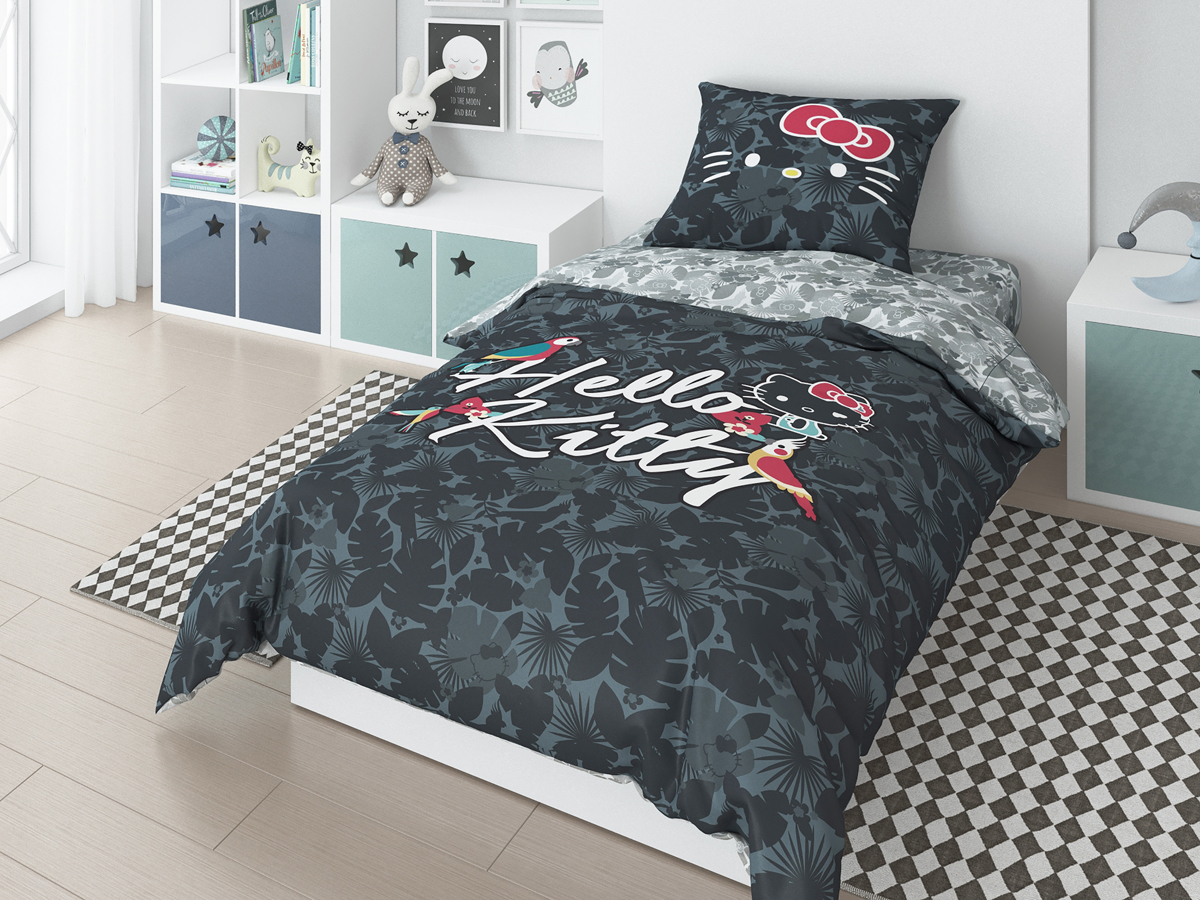 Комплект белья Hello Kitty Tropic, 1,5-спальный, наволочки 50х70 см, цвет: черный мячики mondo мяч hello kitty