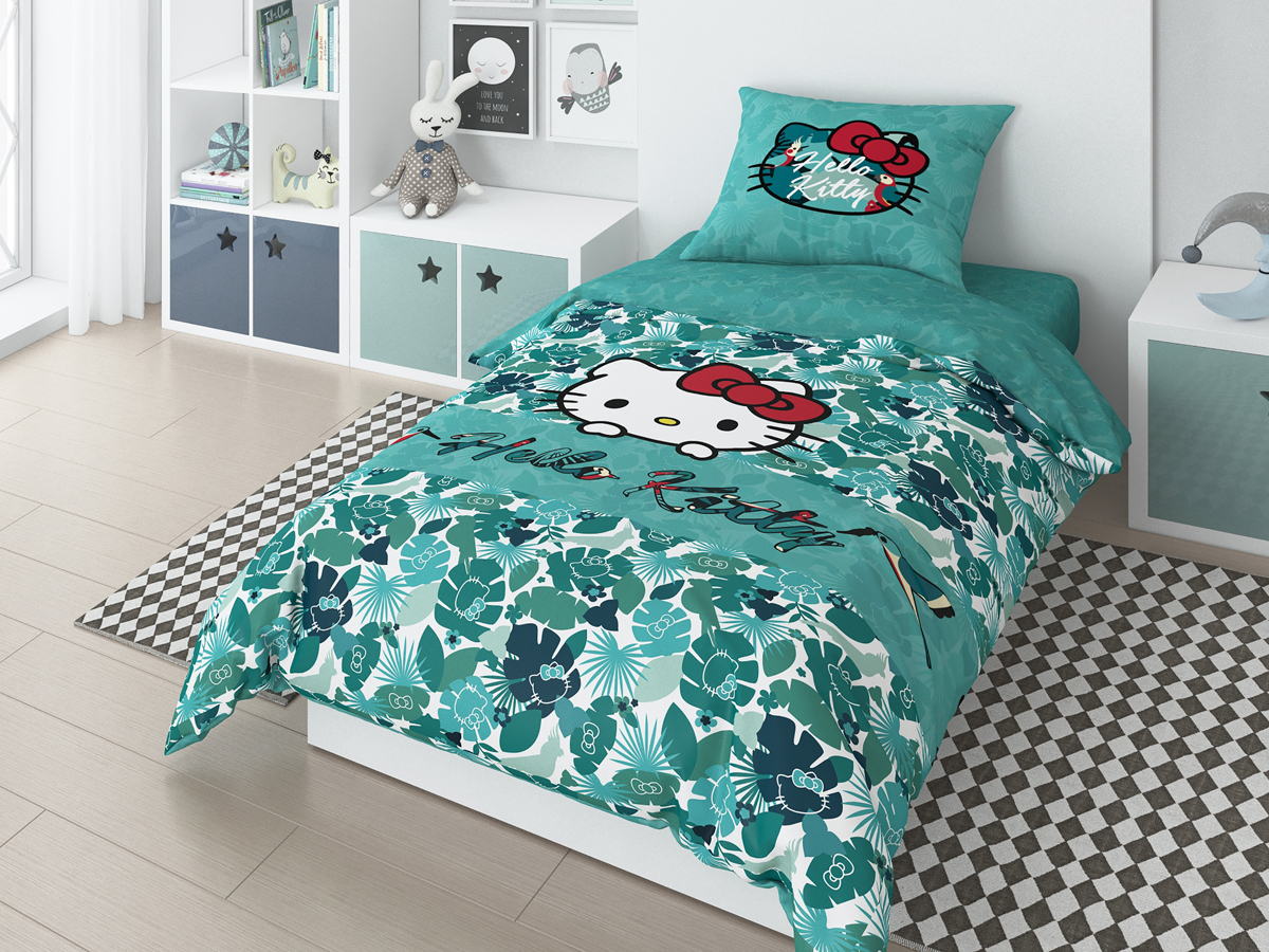 Комплект белья Hello Kitty Tropic, 1,5-спальный, наволочки 50х70 см комплект постельного белья factory outlet hello kitty