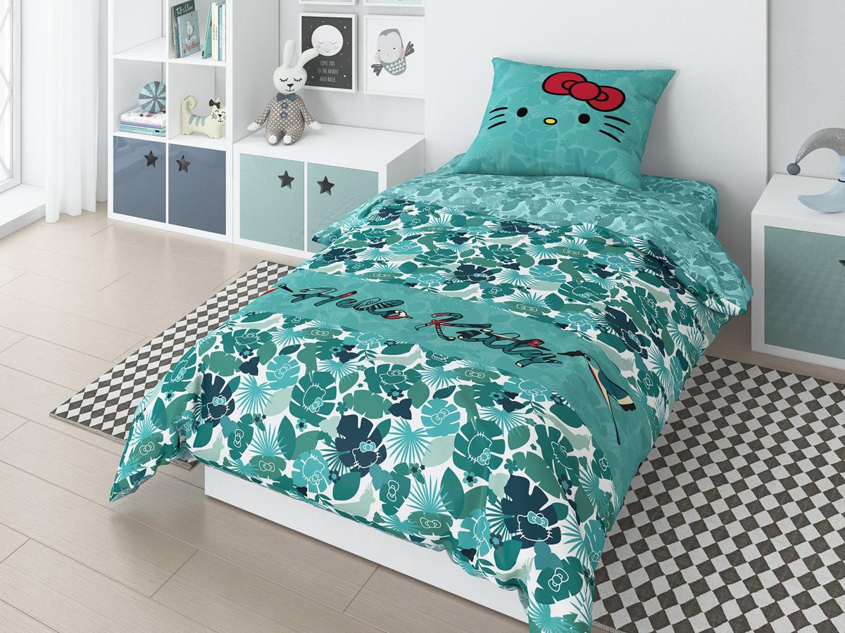 Комплект белья Hello Kitty Tropic, 1,5-спальный, наволочки 70х70 см, цвет: зеленый