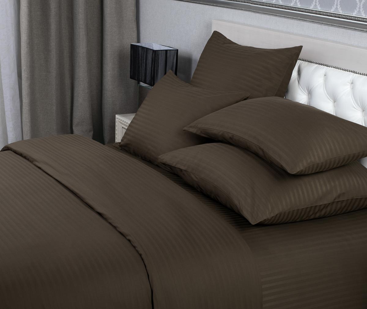 Комплект белья Verossa, евро, наволочки 50х70 см, 70х70 см, цвет: шоколадный