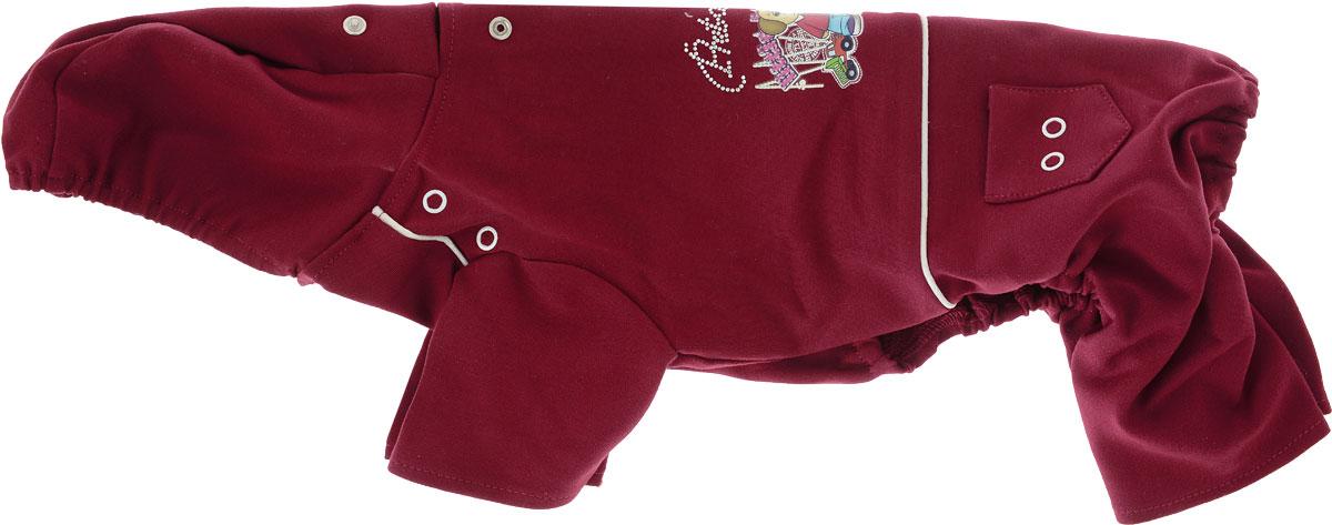 Комбинезон для собак Pret-a-Pet  Мультяшки , унисекс, цвет: темно-красный. Размер L - Одежда, обувь, украшения - Одежда