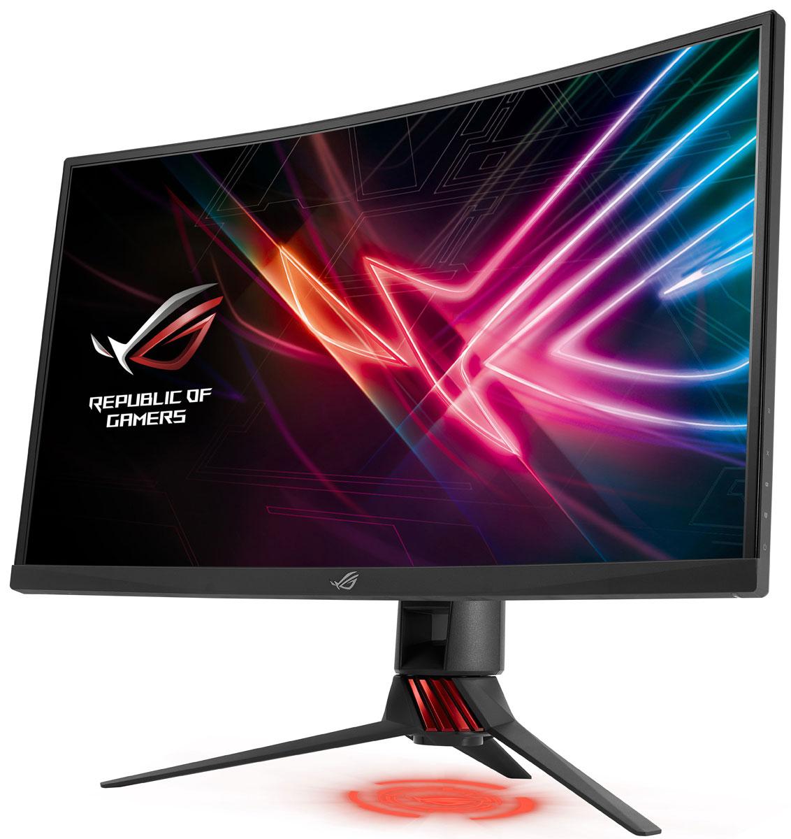 ASUS ROG Strix XG32VQ, Black мониторXG32VQROG Strix XG32VQ - это современный геймерский монитор с изогнутым экраном формата WQHD, предназначенный как дляпрофессиональных киберспортсменов, так и для всех любителей игр жанра MOBA. Он обладает повышенной частотой обновления (144 Гц) иподдерживает технологию адаптивной синхронизации FreeSync. Его привлекательный дизайн дополняет красочная подсветка Aura. Монитор ROG Strix XG32VQ наделен 32-дюймовым экраном с изогнутой поверхностью, поэтому каждая его точка находится на примерноодинаковом расстоянии от глаз пользователя. Это обеспечивает потрясающий эффект присутствия в компьютерных играх и при просмотрефильмов. Высокому качеству изображения также способствуют широкие углы обзора.Одной из особенностей монитора ROG Strix XG32VQ является повышенная частота обновления экрана - 144 Гц, за счет которой улучшаетсяплавность и минимизируется задержка отображения.В мониторе ROG Strix XG32VQ реализована технология FreeSync, синхронизирующая частоту обновления экрана с частотой вывода кадровграфическим процессором. Благодаря этому устраняется неприятный эффект разрыва кадра и уменьшается задержка отображения, чтообеспечивает как более высокое качество картинки, так и улучшенную реакцию игры на действия пользователя.В заднюю панель всех монитора встроена цветная подсветка Aura, которая позволяет создать стильную визуальную атмосферу с помощьюкрасочных световых эффектов.В комплект поставки ROG Strix XG32VQ входят две накладки с логотипами ROG, которые можно использовать для проецирования на столсоответствующих изображений с помощью встроенной подсветки. Кроме того, вы можете создать свои собственные проекционныеизображения, воспользовавшись чистой накладкой, также прилагаемой к монитору.Обладая тонкой экранной рамкой, модель ROG Strix XG32VQ идеально подходит для создания мультимониторных конфигураций, которые даютвозможность максимально погрузиться в атмосферу компьютерной игры.Поскольку модель ROG Strix XG32VQ ориентирована в перву