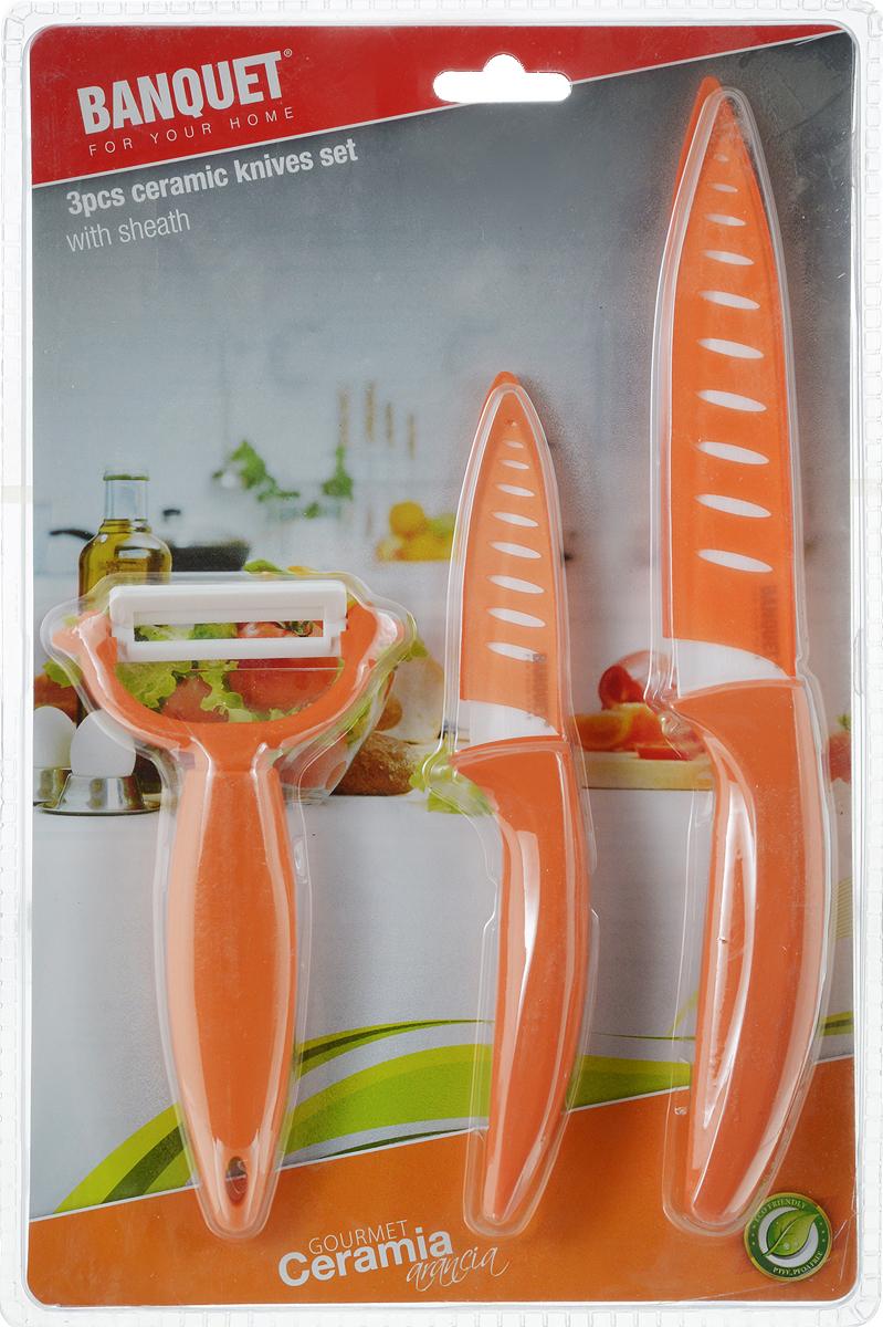 Набор керамических ножей Banquet, цвет: оранжевый, 3 шт25CKLC02Набор ножей из 3 ножей Ножи выполнены из керамики, ручки из термопластика.Оригинальный набор ножей великолепно украсит интерьер кухни и станетзамечательным помощником.Не использовать в посудомоечной машине.Керамическое лезвие, пластиковая ручка. Размер ножей:23,5 см, 17,5 см, 14 см - овощечистка
