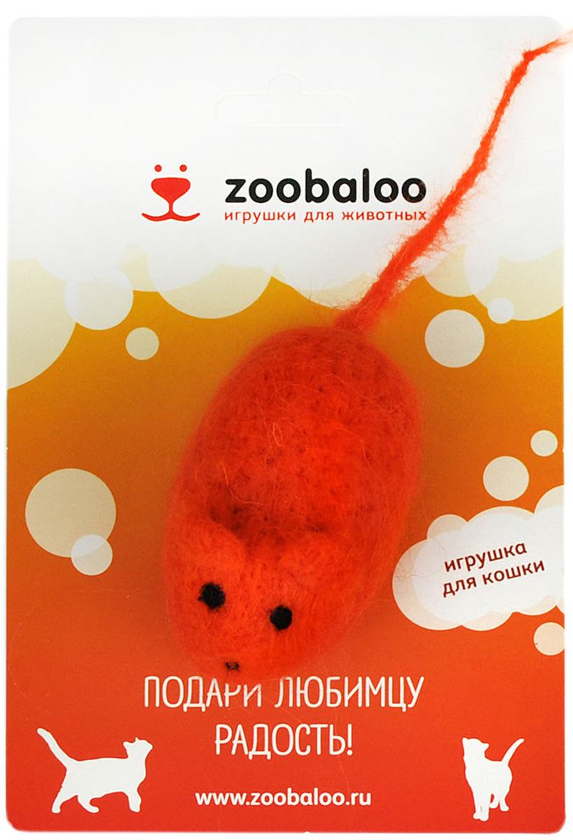 Игрушка для животных Zoobaloo Шерстяная мышь Эмма, цвет: оранжевый, 345 игрушки для животных zoobaloo игрушка для кошки бамбук плюшевый мяч на резинке 60см